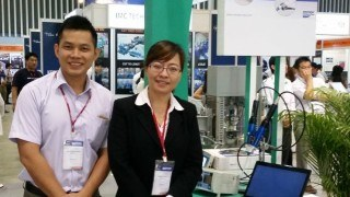 ViscoTec exposition stand with collegues at the nepcon in Vietnam
